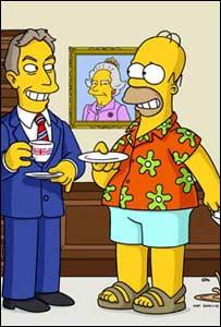 Blair toma el té con los Simpson
